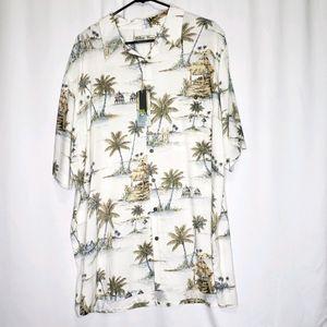 Batik Bay Floral Hawaiian Palm Tree Shirt XLT Tall